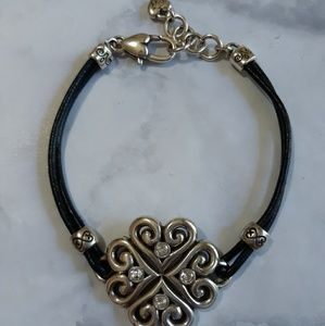 Brighton leather and silvertone bracelet
